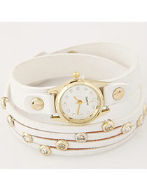 Fashion White Diamond Decorated Pure Color Strap Double Layer Watch