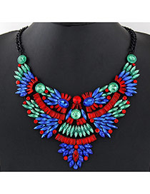 Fashion Multi-color Oval Shape Gemstone Decorated Irregular Shape Collar Necklace