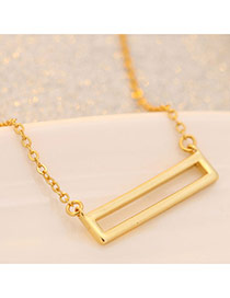 Sweet Gold Color Hollow Out Square Shape Pendant Decorated Pure Color Necklace
