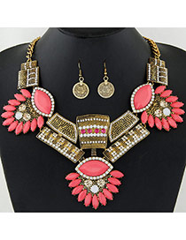 Exaggerate Gold Color Geometric Shape Gemstone Decorated Jewelry Sets