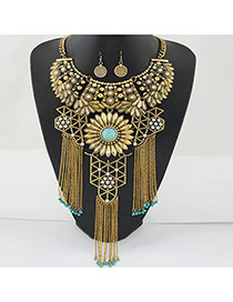 Exaggerate Gold Color Metal Tassel Decorated Hollow Out Jewelry Sets