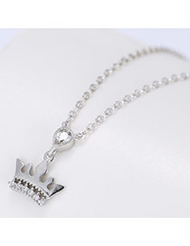 Elegant Silver Color Crown&oval Diamond Pendant Decorated Long Chain Neckalce