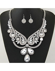 Retro Silver Color Waterdrop Shape Diamond Pendant Decorated Hollow Out Jewelry Sets