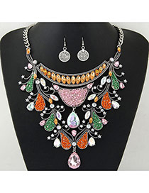 Delicate Multi-color Waterdrop Shape Diamond Pendant Decorated Short Chain Jewelry Sets