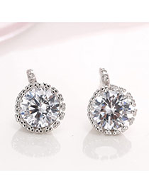 Elegant Silver Color Round Shape Diamond Decorated Simple Earrings