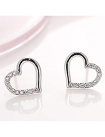 Elegant Silver Color Diamond Decorated Flower Shape Simple Earrings