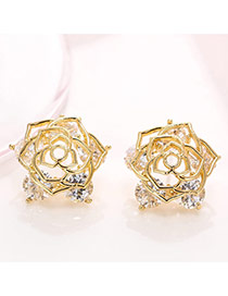 Delicate Gold Color Hollow Out Rose Design Simple Earrings