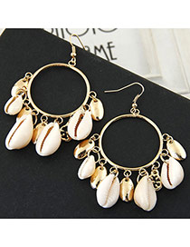 Bohemia White+gold Color Conch Pedant Decorated Simple Design Earring