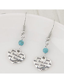 Trendy Silver Color+blue Bead& Heart Shape Pendant Decorated Simple Earring