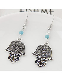Fashion Silver Color+blue Bead& Palm Shape Pendant Decorated Simple Earring