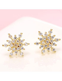 Delicate Gold Color Diamond Decorated Snowflake Shape Simple Design Earrings