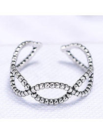 Personality Silver Color Geometric Shape Hollow Out Simple Opening Ring