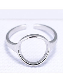 Fashion Silver Color Round Shape Decorated Simple Opening Ring