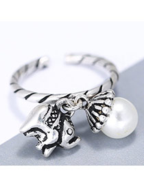 Personality Silver Color Pearl& Elephant Shape Decorated Simple Opening Ring