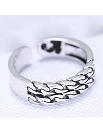 Trendy White+silver Hollow Out Shape Decorated Simple Opening Ring