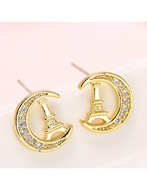 Fashion Gold Color Eiffel Tower& Moon Shape Decorated Simple Design Earrings