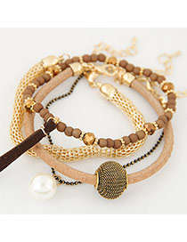 Fashion Multi-color Bead Decorated Multilayer Simple Design Bracelet