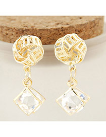 Exquisite Gold Color Diamond& Geometric Shape Pendant Decorated Hollow Out Earrings