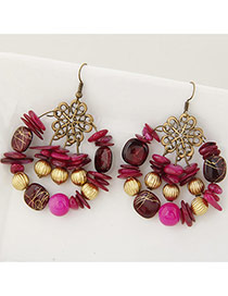 Fashion Multi-color Bead Decorated Round Shape Simple Design Hollow Out Earrings