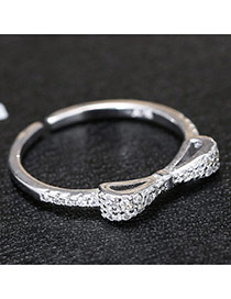 Fashion Silver Diamond& Bowtie Shape Decorated Simple Design Pure Color Ring