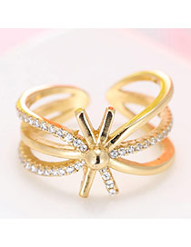 Exquisite Gold Color Diamond& Bowtie Shape Decorated Simple Design Hollow Out Ring