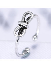 Fashion Anti-silver Bowtie Shape Decorated Simple Design Pure Color Ring