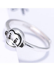 Trendy Anti-silver Monkey Shape Decorated Simple Design Pure Color Ring