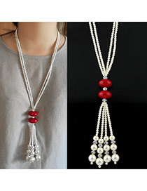 Fashion White+red Tassel& Round Shape Pendant Decorated Long Chain Simple Necklace