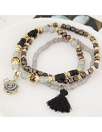 Fashion Multi-color Tassel& Flower Shape Pendant Decorated Multilayer Design Bracelet