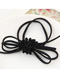 Fashion Black Chrysanthemum Flower Decorated Multilayer Design Pure Color Hairband