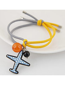 Trendy Multi-color Bead& Airplane Shape Pendant Decorated Bilayer Design Hairband