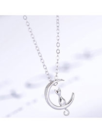 Trendy Silver Color Cat& Crescent Moon Shape Pendant Decorated Simple Design Necklace
