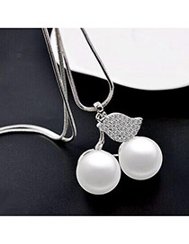 Fashion Silver Color Cherry Shape Pendant Decorated Pure Color Necklace