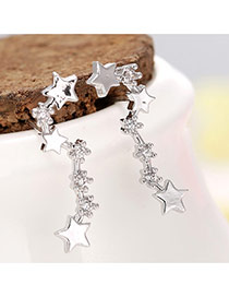 Delicate Silver Color Diamond Decorated Star Shape Simple Design Earrings