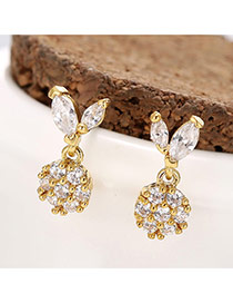 Trendy Gold Color Diamond Decorated Rabbit Shape Design Pure Color Earrings