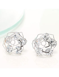 Trendy Silver Color Diamond Decorated Hollow Out Rose Flower Shape Design Earrings