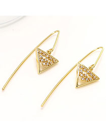 Exquisite Gold Color Diamond Decorated Triangle Shape Simple Design Pure Color Earrings