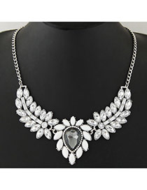 Elegant White+silver Color Waterdrop& Leaf Shape Pendant Decorated Simple Design Jewelry Sets