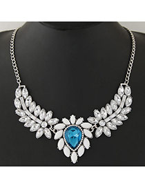 Fashion Blue+silver Color Waterdrop& Leaf Shape Pendant Decorated Simple Design Jewelry Sets
