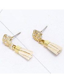 Sweet Light Yellow Tassel Pendant Decorated Rose Flower Earring