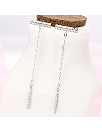 Sweet Silver Color Vertical Bar Pendant Decorated Tassle Earring