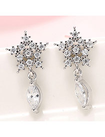 Sweet Silver Color Waterdrop Diamond Decorated Snowflake Shape Earring