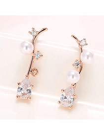 Sweet Rose Gold Pearl&waterdrop Diamond Decorated Leaf Shape Earring