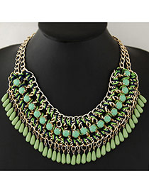 Vintage Green Water Drop Shape Beads Decorated Hand-woven Simple Necklace