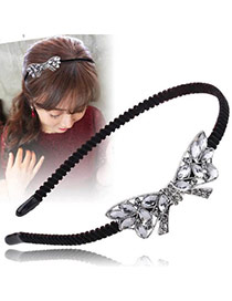 Vintage Black+silver Color Oval Shape Diamond Decorated Bowknot Shape Design Hair Hoop