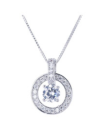 Sweet Silver Color Diamond&hollow Out Round Shape Pendant Decorated Simple Design Necklace