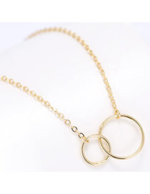 Sweet Gold Color Double Hollow Out Round Shape Pendant Decorated Pure Color Necklace