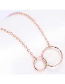 Sweet Rose Gold Double Hollow Out Round Shape Pendant Decorated Pure Color Necklace