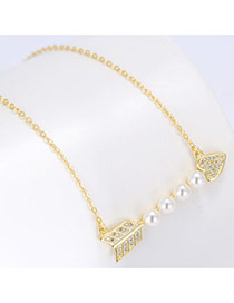 Sweet Gold Color Pearls&diamonds Decorated Arrow Shape Pure Color Chain Simple Necklace