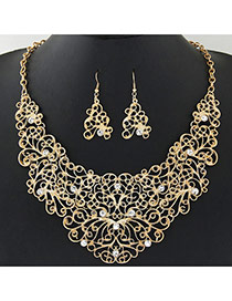 Retro Gold Color Diamond Decorated Flower Vine Shape Design Hollow Out Jewelry Sets
